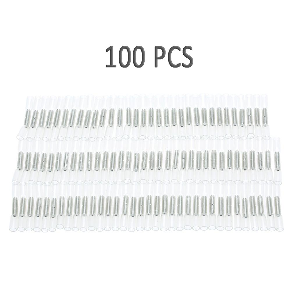 100Pcs Wire Butt Crimp Connector Heat Shrink 26-24 Awg